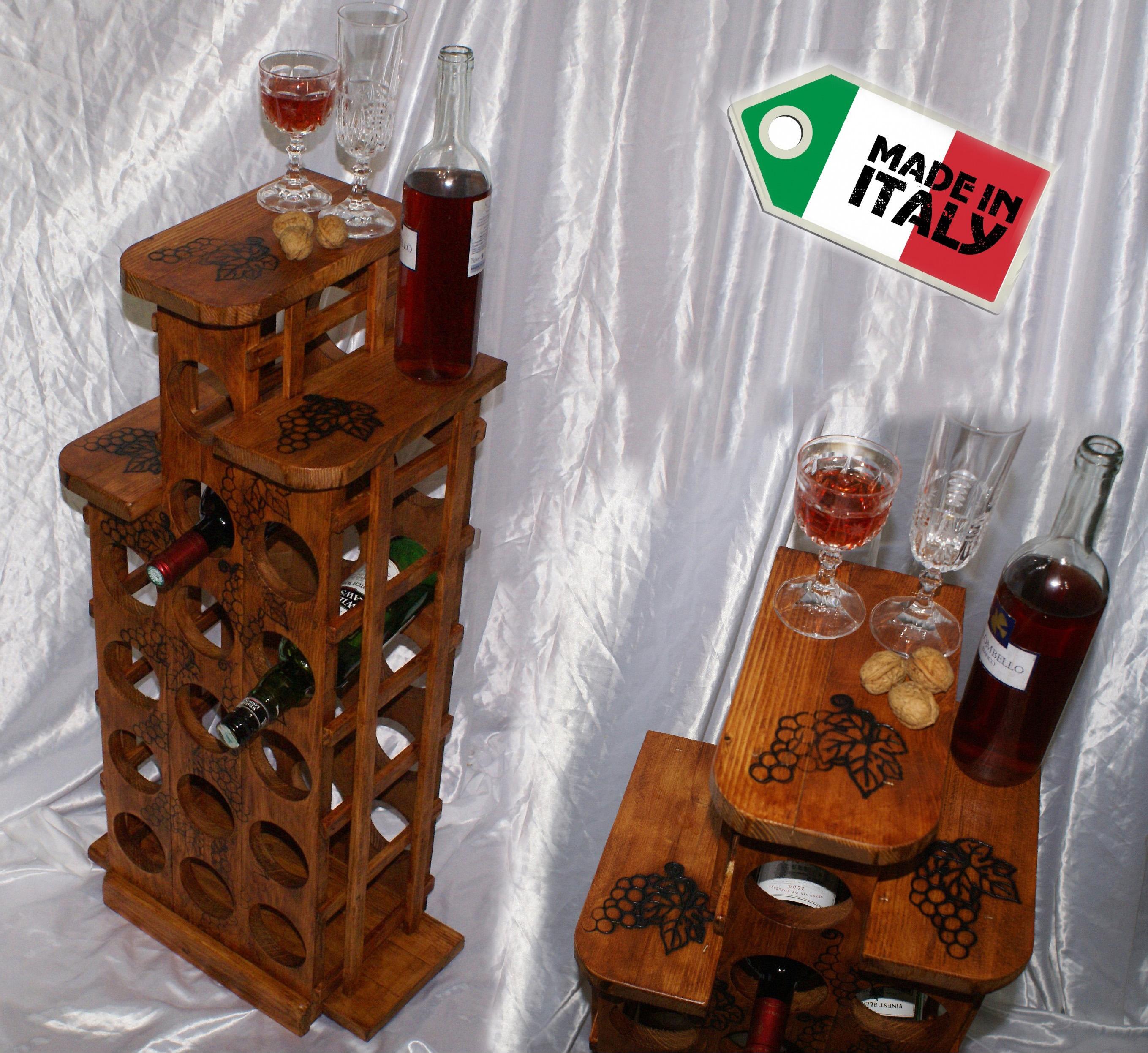 Cantinetta portabottiglie da vino cantina legno porta 15 bottiglie per scaffale ebay - Portabottiglie di vino in legno ...
