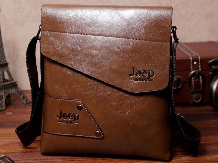 taglia 40 b9ca0 68f4e Dettagli su Jeep Buluo borsa tracolla uomo donna in pelle marrone  portafoglio telefono nuova